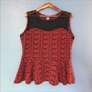 Myth 3X sleeveless chevron pattern peplum top